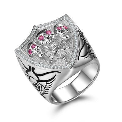 Unique Pink Sapphire Sterling Silver Skull Ring
