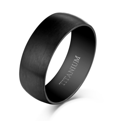 Cool Design Black Titanium Steel Men's Ring