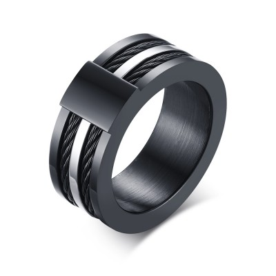 Newest Fashionable Black Titanium Steel Men's Ring