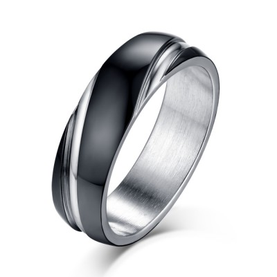 Black And Silver Anium Steel Men S Ring