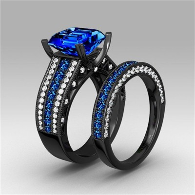 Asscher Cut Sapphire Black 925 Sterling Silver Bridal Sets