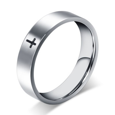 Titanium Black Cross Silver Men's Ring