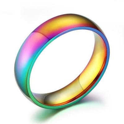 Titanium Gold Colorful Men's Ring