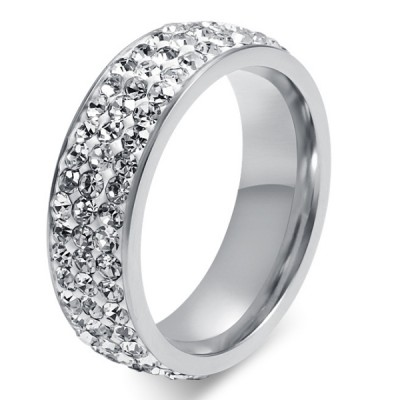 Titanium Silver Round Cut White Sapphire Promise Rings For Her