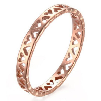 Titanium Hollowed-out Heart Rose Gold Promise Rings For Her