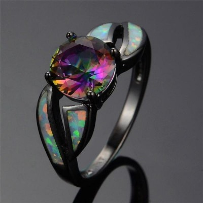 Round Cut Colorful Opal Black Women's Ring