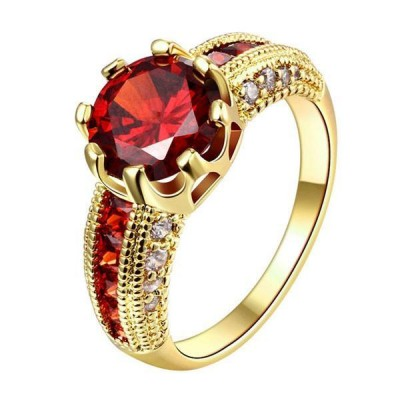 Gold Round Cut Ruby Engagement Rings