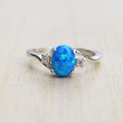 Cute Oval Cut Fire Opal Blue Rings
