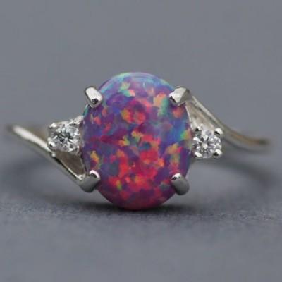 Cute Oval Cut Fire Opal Purple Rings
