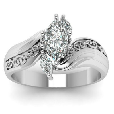 Vintage Marquise Cut 3-Stone Rings For Women