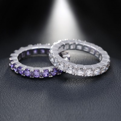Round Cut Eternity Wedding Bands