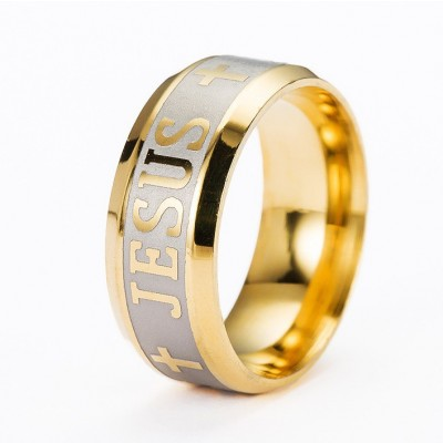 Gold Jesus Christian Cross Prayer Band