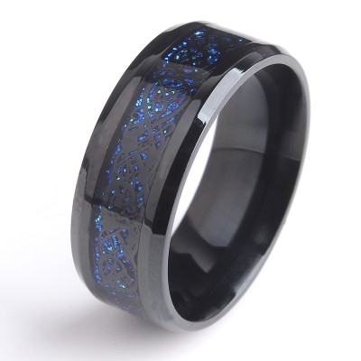 Black and Blue Beveled Dragon Titanium Men's Ring