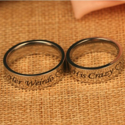 Silver His Crazy Her Weirdo Couple Rings