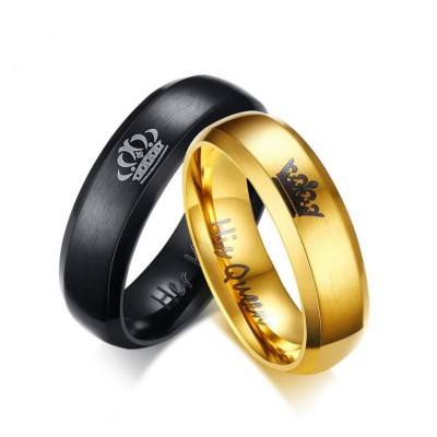 Her King His Queen Black & Gold Titanium Couple Rings
