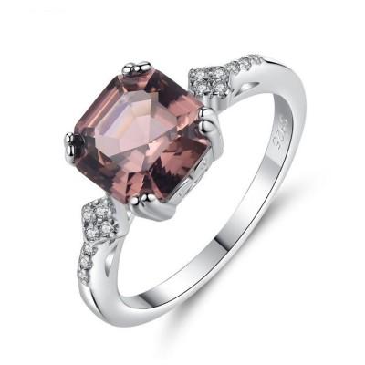 Asscher Cut Pink Sapphire 925 Sterling Silver Promise Ring