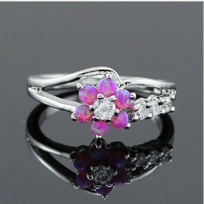 Round Cut White Sapphire Pink Flower Promise Ring