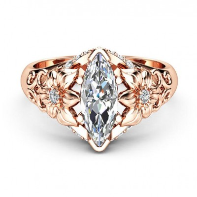 Marquise Cut White Sapphire Rose Gold Promise Ring