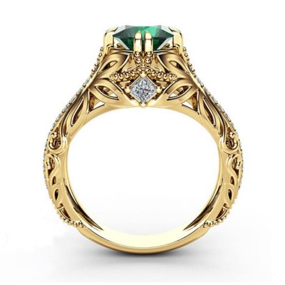 Round Cut Emerald Gold Promise Ring