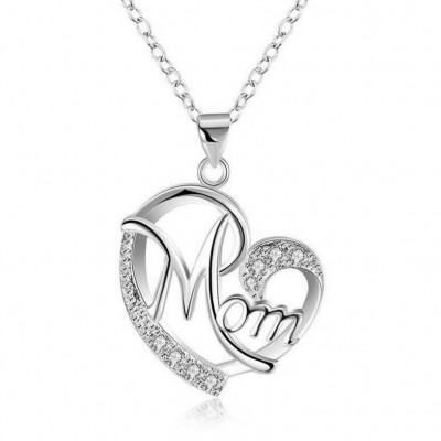 "Round Cut White Sapphire Heart ""Mom"" Necklace"