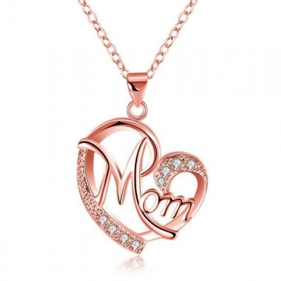 "Round Cut White Sapphire Rose Gold Heart ""Mom"" Necklace"