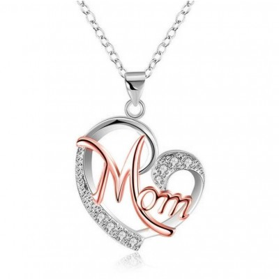 "Round Cut White Sapphire Rose Gold & Silver Heart ""Mom"" Necklace"