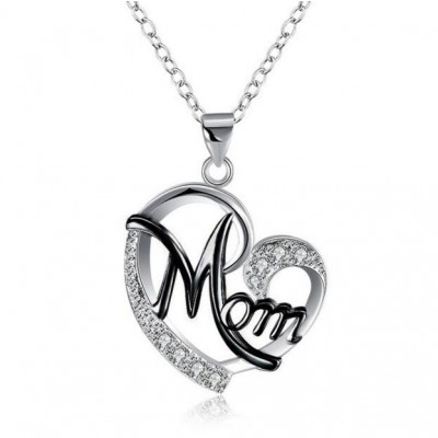 "Round Cut White Sapphire Black & Silver Heart ""Mom"" Necklace"