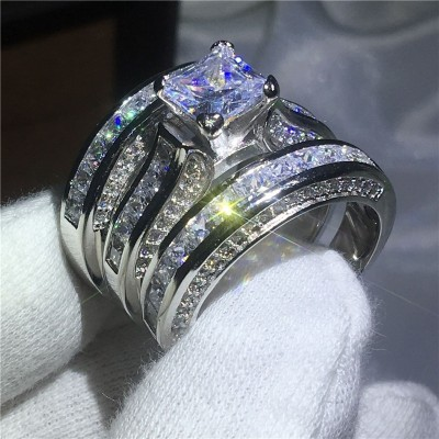 Princess Cut White Sapphire 3-Piece Bridal Sets
