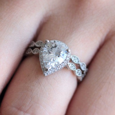 Pear Cut White Sapphire Halo Bridal Sets