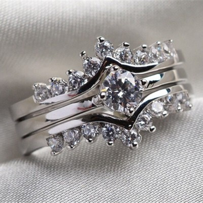 Round Cut White Sapphire Crown Engagement Rings