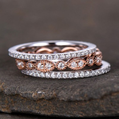 Round Cut White Sapphire Silver Rose Gold Stacking Rings