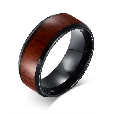 Black Tungsten Wood Inlaid Men's Wedding Band