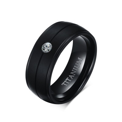 Black Round Cut White Sapphire Titanium Men's Band