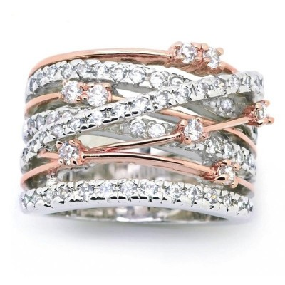 Beautiful Crossover Round Cut White Sapphire Women's Band