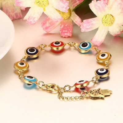 Lovely Gold 925 Sterling Silver Colorful Bracelet