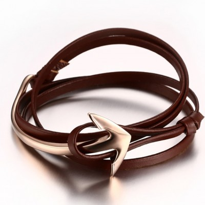 Scarlet Leather Rose Gold Anchor 925 Sterling Silver Bracelet