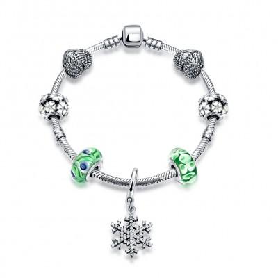 Hearts Snowflake Cyan Accessories S925 Silver Bracelets