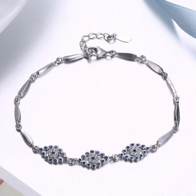 Unique Royal Blue Eyes Pendant S925 Silver Bracelets