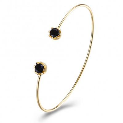 Round Cut White/Black/Ruby/Amethyst Gold Titanium Bangles