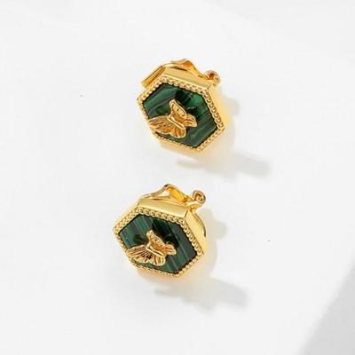 Butterfly 925 Sterling Silver Malachite 18K Gold Plated Earrings