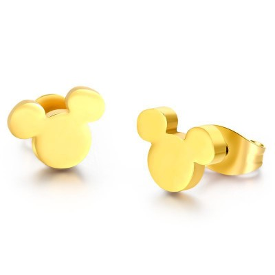 Mickey Design Gold 925 Sterling Silver Earrings
