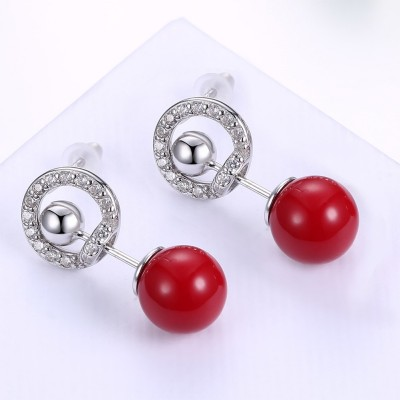 Round Cut White Sapphire Red Ball S925 Silver Earrings