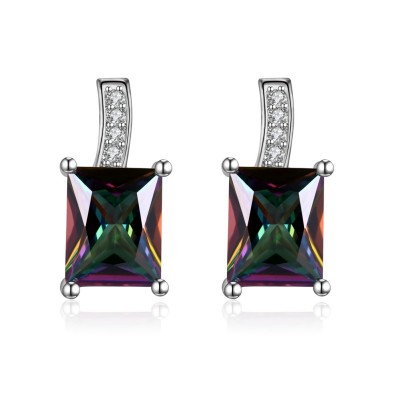 Princess Cut Colorful Sapphire S925 Silver Earrings