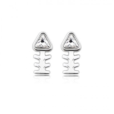 Trillion Cut White Sapphire Fish Bone S925 Silver Earrings