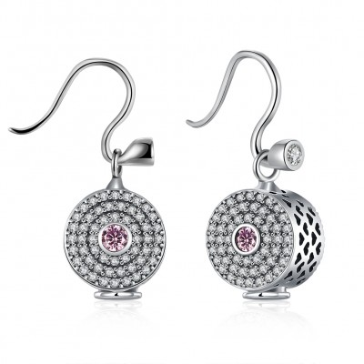 Round Cut Pink White Sapphire S925 Silver Earrings