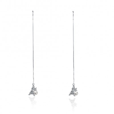 Eiffel Tower Pearl Star S925 Silver Earrings