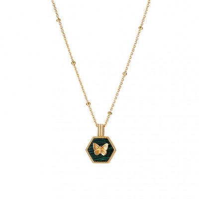 Butterfly 925 Sterling Silver Malachite 18K Gold Plated Necklace