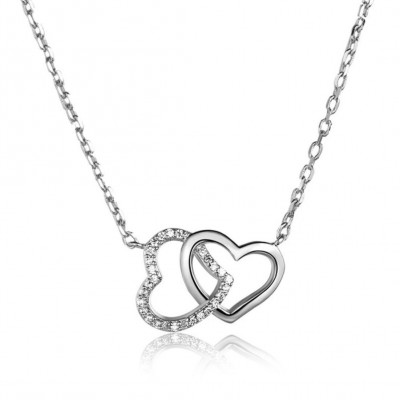 Heart to Heart 925 Sterling Silver CZ Stones Gold Plated Necklace