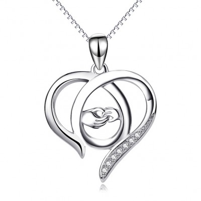 Hand in Hand 925 Sterling Silver Zircon Heart Necklace