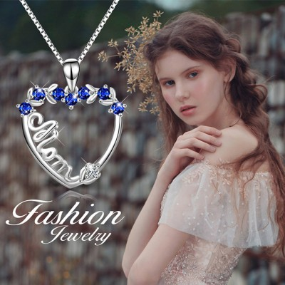 Gift for Mom 925 Sterling Silver Blue Sapphire Necklace